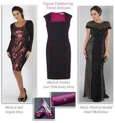 chesca slimming panel illusion dresses