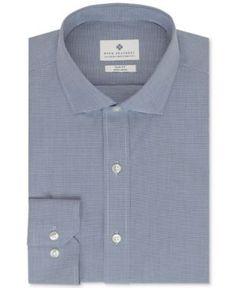 Ryan Seacrest Distinction Non-Iron Slim-Fit Dark Blue Houndstooth Dress Shirt - Blue 16.5 32/33