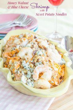 Honey Walnut and Blue Cheese Shrimp with Sweet Potato Noodles | cupcakesandkalechips.com | #glutenfree #grainfree #seafood