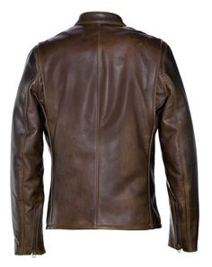 waxy cowhide leather in a brown pebble grain.Durable nickel plated brass hardware Cafe Racer style & collar with snap closure Sna Cafe Racer Jacket, Cafe Racer Style, Brown Leather Jacket Men, Leather Men, Men's Wardrobe, Motorcycle Jacket, Summer Outfits, Men Casual, Nyc