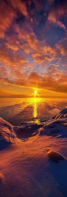 Sunrise on the shore of Lake Michigan in Wisconsin. Wisconsin Horizons #by Phil Koch #sunset #amazing landscape winter snow sky yellow red mountain