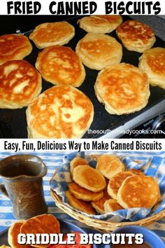 This is a simple and quick recipe for fried canned biscuits. They make a great change for breakfast and are good with any meal. Make them on a griddle or in Fried Biscuits, Flaky Biscuits, Baking Biscuits, Bread Baking, Grilling Recipes, Gourmet Recipes, Steak Recipes, Hibachi Recipes, Country Cooking Recipes