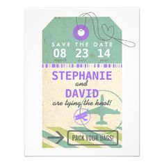 Luggage Tag Vintage Destination Wedding Save Date Personalized Invite Shoppinglowest price Fast Shipping and save your money Now!!...