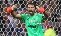 Goalkeeper of Juventus Gianluigi Buffon gestures during the UEFA Champions League match between Olympique Lyonnais (OL) and Juventus Turin at Parc OL stadium on October 18, 2016 in Lyon, France.