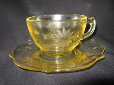 LANCASTER GLASS CO. JUBLIEE PATTERN YELLOW c1930 CUP & SAUCER