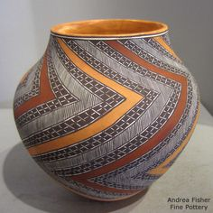 Artist: Amanda Lucario Pueblo: Acoma Dimensions: 6 1/2 in H by 6 1/2 in Dia Item Number: xxace5198 Price: $ 1800 Description: Polychrome jar with geometric design Condition: Excellent Signature: A. Lucario Acoma NM 2015 Date Created: 2015
