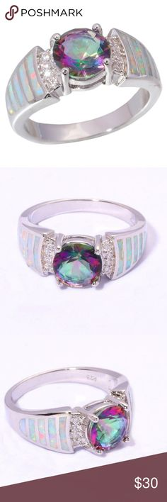 White Opal Mystic Topaz Size 7 Ring Brand New Jewelry Rings
