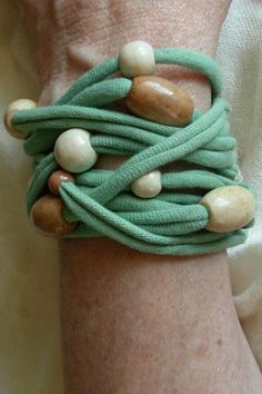 I can make this for less than $5!  Recycled tshirt bracelet in mint green with by AtlanticCrossing, $21.00