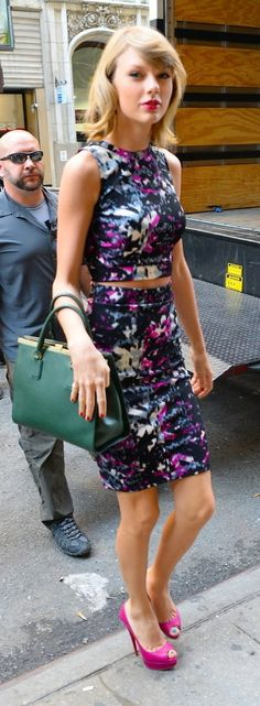 Taylor Swift street style:  Taylor's floral two-piece was an edgy choice for a day out on the town.
