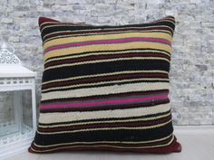 multi color natural wool kilim pillow 20 x 20 rustic pillow kilim pillow cover boho pillow throw pillow turkish handmade pillow aztec pillow