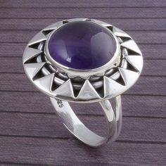 925 STERLING SILVER 5.21g AMETHYST RING JEWELLERY DJR3414 #Handmade #Ring
