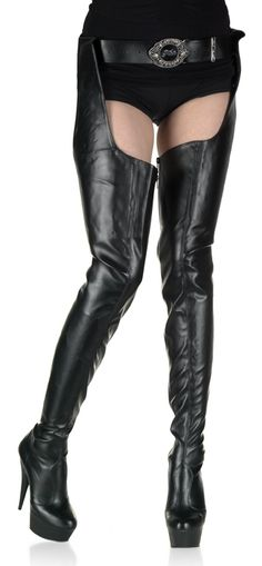 Pleaser Shoes Delight-5000 Crotch Chap High Platform Boots Black Faux Leather