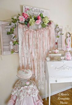 Shabby Chic Ribbons   Pinterest   Rosas de tecido, Shabby ...