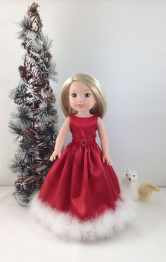 """RESERVED For Linda- Christmas Dress - 14.5"""" dolls like American Girl (R) Wellie Wishers - Christmas Dress for dolls  like Camille by MjsDollBoutique18T on Etsy"""