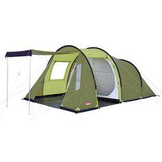 Tente Dome Trigano Familiale RUBY 4 Personnes Tente familiale, 3 arceaux, spacieuse, 2 grandes chambres avec volet de séparation central. Vaste séjour avec 2 entrées, fenêtre moustiquaire, 2 mâts de relevée.