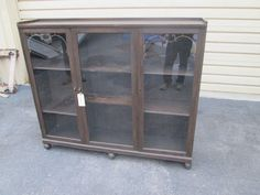 It is in good condition and has adjustable wood shelves. It was built to last a lifetime. Age: circa 1920 Size: x x Antique Bookcase, Craftsman Furniture, Wood Shelves, China Cabinet, Sweet Home, Victorian, Doors, The Originals, Antiques