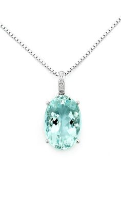 "Oval Shaped Aquamarine Diamond Accented Pendant With 925 Sterling Silver Chain (16"") - 18K/750 White Gold --- Oval Shaped Aquamarine Set On 4-Prong. Necklace Ring Is Paved With Round Diamonds Item Comes With The 925 Sterling Silver Chain For Free Diamond Weight: Approx 0.02 cttw (3 Piece Of Round Diamond) Gem Stone Weight: Approx. 6.5 cttw (1 x Oval Shape Aquamarine) *** Free Global Shipping *** US$826.67"