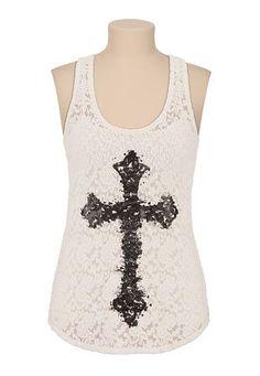 <ul><b>Overview</b><li>Allover floral lace</li><li>contrast cross graphic with rhinestones</li><li>scoop neckline</li><li>racerback detail</li><li>Tank top sold separately</li></ul><ul><b>Fabric and Care</b><li>Style Number: 27661</li><li>Imported</li><li>60% cotton 38% nylon 2% spandex</li><li>Machine wash</li></ul>