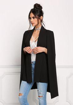 Black Slit Hi-Lo Cape Blazer - Boutique Culture