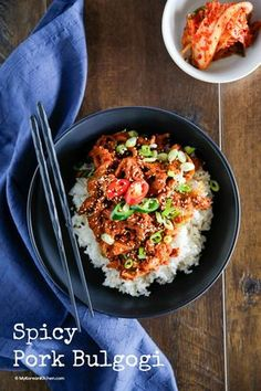 Spicy pork bulgogi is a popular Korean pork stir fry dish that is slightly spicy but also sweet. It is great for BBQ or over rice! Spicy Recipes, Pork Recipes, Asian Recipes, Cooking Recipes, Healthy Recipes, Indonesian Recipes, Healthy Food, Ethnic Recipes, Korean Dishes