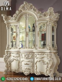 High Quality Lemary Hias Mewah Jepara Luxury White Duco Classic Type TTJ-1461 Country Decor, China Cabinet, Solid Wood, Home And Family, Carving, House Styles, Luxury, Storage, Classic