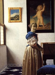 Young Woman Standing at a Virginal by Johannes Vermeer #art