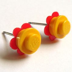 Yellow Red Flower Stud Earrings  made with LEGO