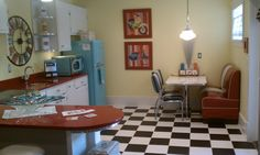 Adorable retro diner kitchen in a basement!!