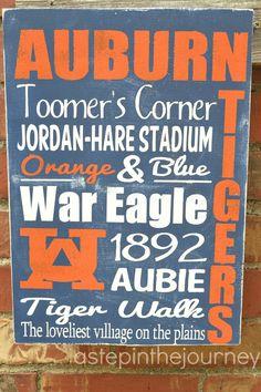 Auburn Tigers Subway Art. $30.00, via Etsy.