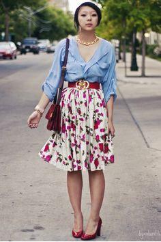 Button up. Bold floral skirt.