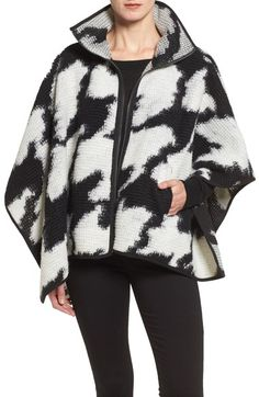 French Connection Zip Front Houndstooth Wool Blend Poncho available at #Nordstrom