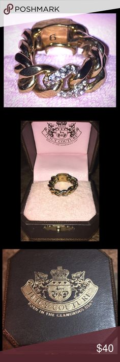 Juicy Couture Pave Chain Link Ring - Size 6 Juicy Couture Pave Chain Link Ring in a Size 6.  Gold-tone with pave cubic zirconia accents.  Like new/and comes in its own original box! Juicy Couture Jewelry Rings