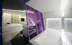 Banheira divide e integra os ambientes; Boutique Hotel (Coreia do Sul)