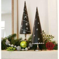 DIY Chalkboard Paper Maché Trees