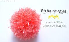 Aprende cómo hacer estropajos con la lana especial Creative Bubble de Rico Design. www.manualidadesytendencias.com #pompón #estropajo #lana #tejer