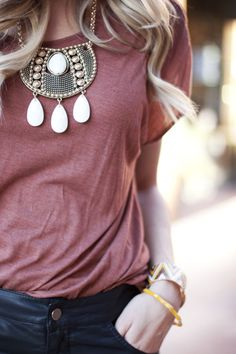t-shirt with statement necklace
