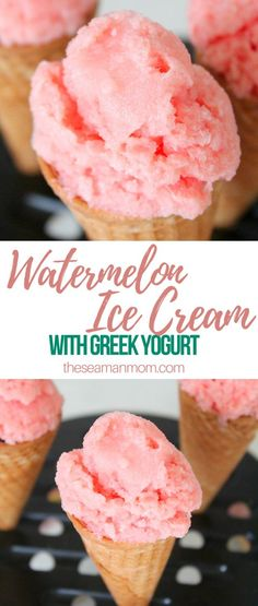Watermelon ice cream with Greek yogurt WATERMELON ICE CREAM Looking for something cold, sweet, healthy and quick to make? This fresh watermelon ice cream recipe is easy, delicious, light and fluffy and super refreshing! Cold Desserts, Frozen Desserts, Summer Desserts, Easy Desserts, Delicious Desserts, Dessert Recipes, Summer Recipes, Healthy Desserts, Recipes