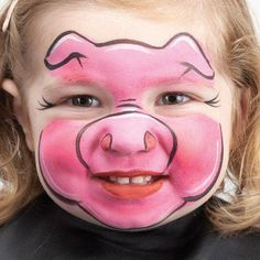 Simple and cute pig face painting . - Simple and cute pig face painting - Face Painting Designs, Paint Designs, Body Painting, Simple Face Painting, Face Painting For Kids, Face Painting Tutorials, Kids Makeup, Makeup Art, Face Makeup