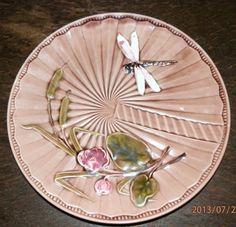 Antique, Austrian/Bohemian, Majolica Dragonfly Plate, Art Nouveau/Jugendstil