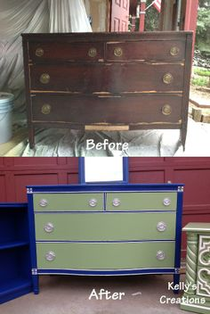 Vintage blue, green and white boy's dresser before and after pictures. Refinished by Kelly's Creations. https://www.facebook.com/pages/Kellys-Creations-Refinished-Furniture/524028237619793