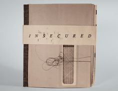 """Insecured"" by Catherine Cieslewicz.   Handmade book; silk screen on security envelope interiors."