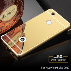 Luxury Rose Gold Mirror case For Huawei P8 Lite 2017 Aluminum Frame + Mirror Acrylic Back Cover For Huawei P8 Lite 2017 5.2inch
