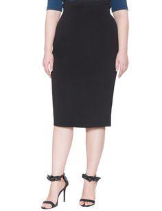 Ottoman Textured Pencil Skirt | Women's Plus Size Tops | ELOQUII