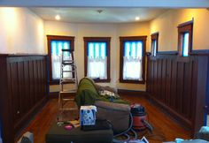 I always love a good plain wall to stained wainscoting story!
