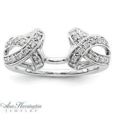 diamond+ring+guards+and+enhancers | ... 14k White or Yellow Gold .20 ct tw Diamond Antique Style Ring Enhancer