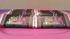 Five Nights at Freddy's Candy Bar Favors, Candy Bar Wrappers, FNAF partyluxshop@gmail.com