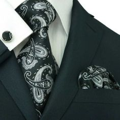 $44.99 | Black and Silver Paisley Necktie Set JPM37E – Toramon Necktie Company