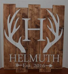 Hand painted Custom Personalized Deer Antler Wood Sign, Last name, Rustic Home Decor, Wall Art by 2StormyBirds on Etsy https://www.etsy.com/listing/288166187/hand-painted-custom-personalized-deer