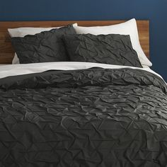 CB2 Melyssa Carbon Full/Queen Duvet Cover ($129) ❤ liked on Polyvore featuring home, bed & bath, bedding, duvet covers, gray shams, cb2, grey pillow shams, grey shams and cotton pillow shams