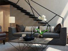 deco salon contemporain, escalier flottant noir, table en bois et métal, enduit et tapis gris